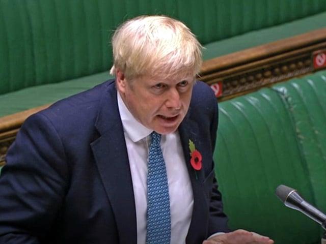 Boris Johnson speaking in the Commons. Photo: PA