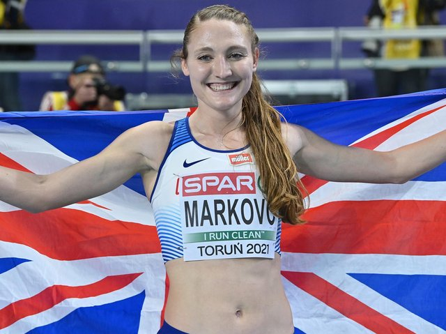 Amy-Eloise Markovc celebrates her victory. Picture: Adam Nurkiewicz/Getty Images