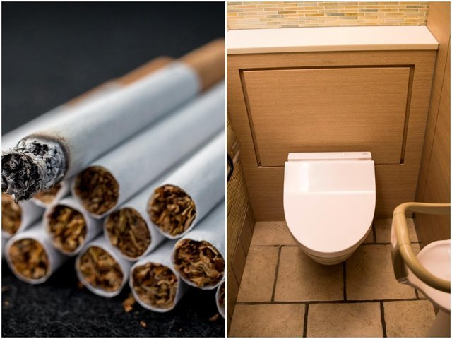 Flushed out: Nearly 3,000 cigarettes were found in the stash.