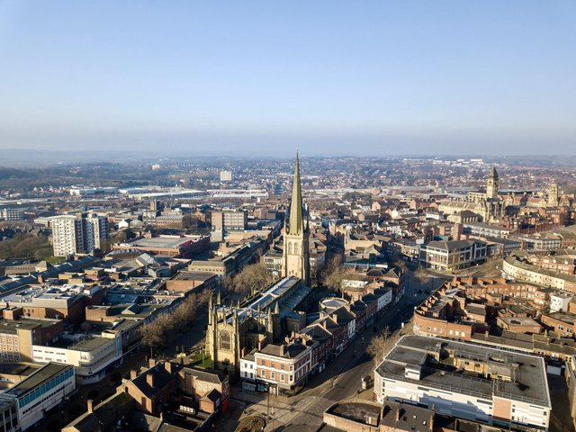An aerial view of Wakefield Cathedral and the city centre