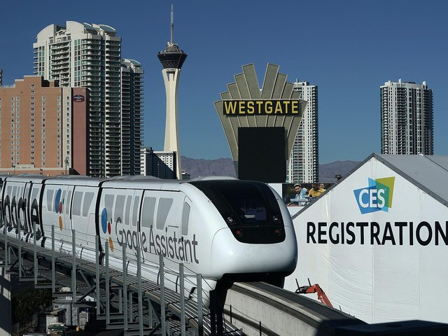 A monorail system in Las Vegas