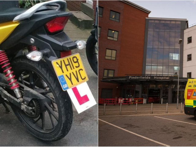 The motorbike which was stolen from Pinderfields Hospital