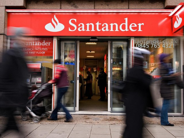 Banking giant Santander has revealed plans to close more than 100 branches in the next year - including those in Castleford and Dewsbury. Photo by LEON NEAL/AFP via Getty Images