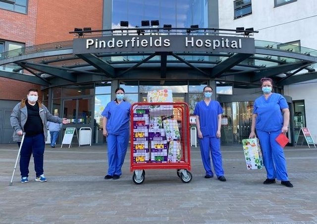 Lisa Varley dropped off the Easter eggs to Pinderfields.