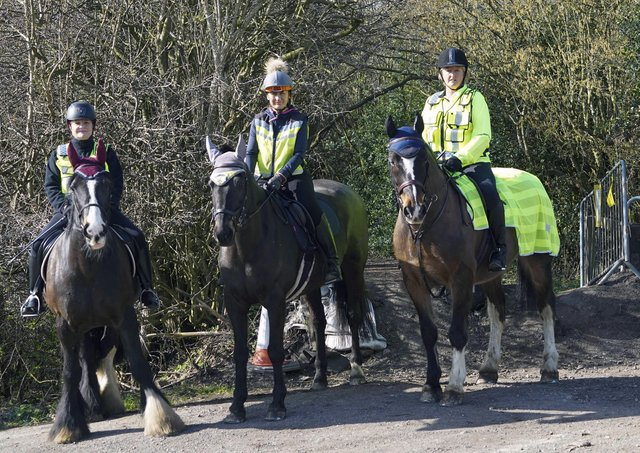 Frustrated: Tina Bell,Sue Dickey and Jane Wilkinson are unhappy that the bridleway remains shut.