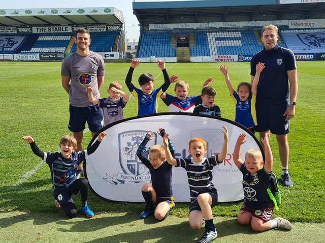 Throughout the Easter holidays, the Featherstone Rovers Foundation ran different activities for local children, pictured above with James Harrison and Craig Hall