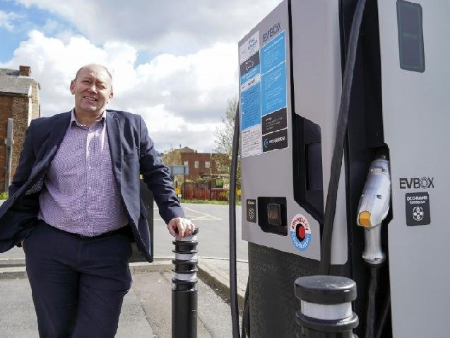 Wakefield Council's Gary Blenkinsop at one of the charge points in the city.