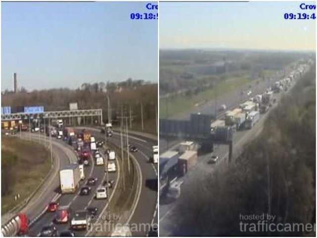 Drivers in Wakefield are facing long delays this morning, after a collision on the M62 saw a section of the motorway closed amid almost 10 miles of traffic. Photos: Highways England