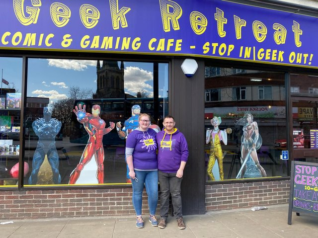 Samantha Maries and Jack Mallinson have opened their new business, Geek Retreat, for the first time.Located on the Bullring, the shop will eventually function as a board game cafe and host events, but is currently operating as a shop and offering takeaway drinks.