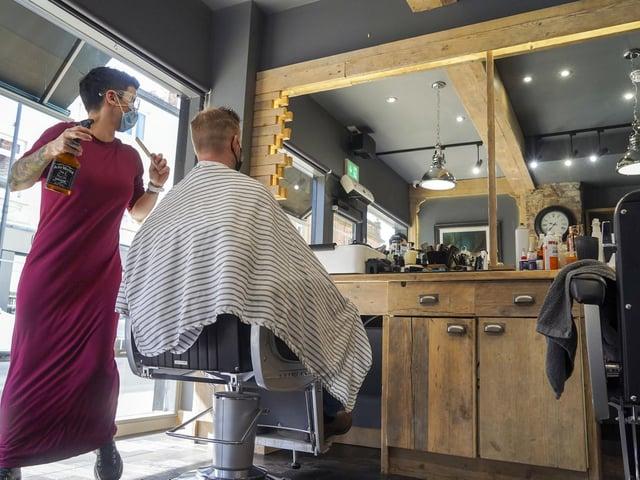 Lisa De Csernatony cuts hair at Kraft Barbers