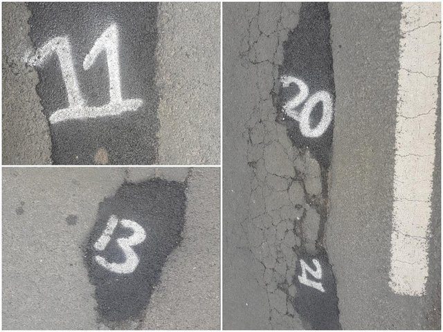 Some of the numbers spray-painted on filled-in potholes on Hall Road (photos submitted by Adrian Smith)