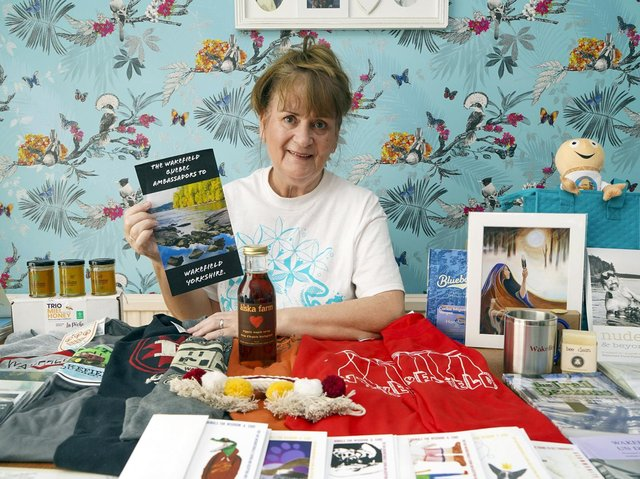 A Wakefield woman whose Facebook mix up saw her gifted a box of treats from Canada - and a group of new, international friends - is set to tell her story on the BBC's One Show. Sue Perry is seen with her box of gifts from Wakefield, QC.