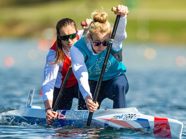 Paddling to success: Chloe Bracewell and Afton Fitzhenry. Picture: A Edmonds