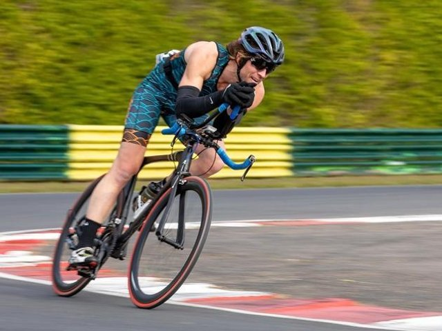 Road to success: Chris Lewis in cycling action.