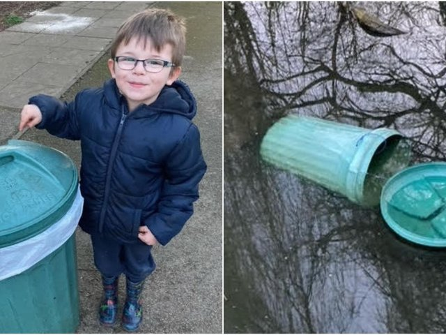 The five-year-old was in Thornes Park to feed the duck with dad, John, when they saw three teenagers pick the bin up and throw it into the duck pond.
