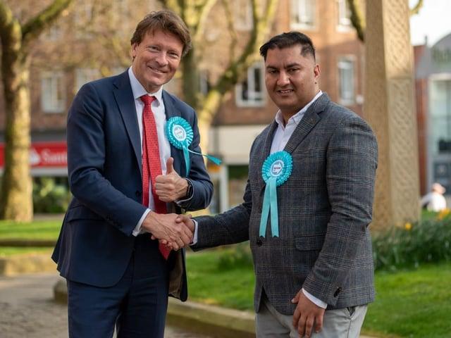 Reform UK's national leader Richard Tice alongside local candidate Waj Ali.