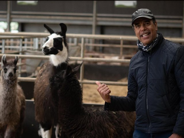 Football pundit Chris Kamara returned to Cannon Hall Farm to be reunited with a very special pal - and namesake Chris Kallama.