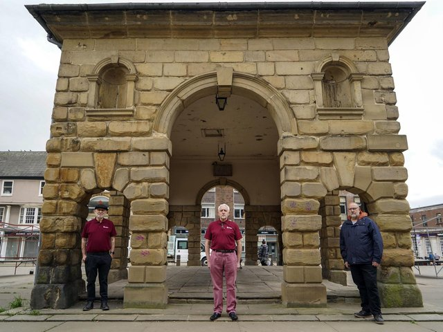 Pictured outside the Buttercross: John Turner, of Pontefract Heritage Group, Paul Cartwright, Pontefract Civic Society chair and Phil Cook, Pontefract Civic Society vice chair