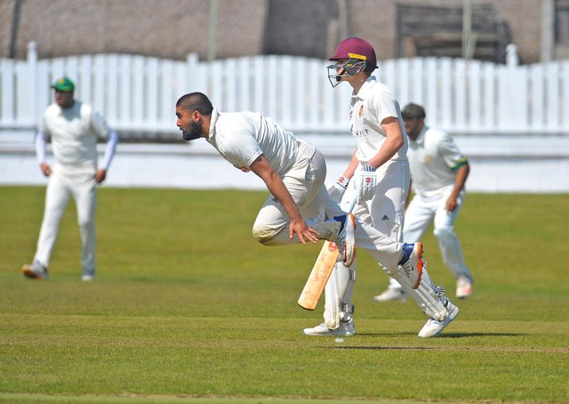 Al-Mustafa Rafique bowling for Wrenthorpe against Methley. Picture: Steve Riding