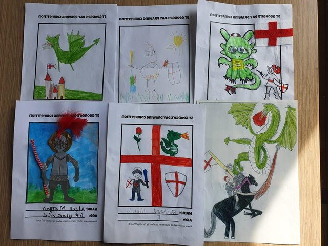 WINNERS: St George's day themed drawing competition.