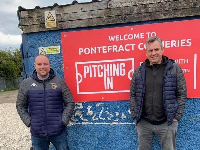 Tom Wiles, vice chairman and Trevor Waddington, club chairman outside Pontefract Collieries FC.