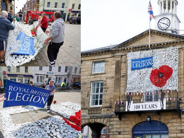 Over the weekend, a huge display of bottle base poppies, made by the community was attached to netting and adorned the face of Pontefract Town Hall to honour VE day 2021