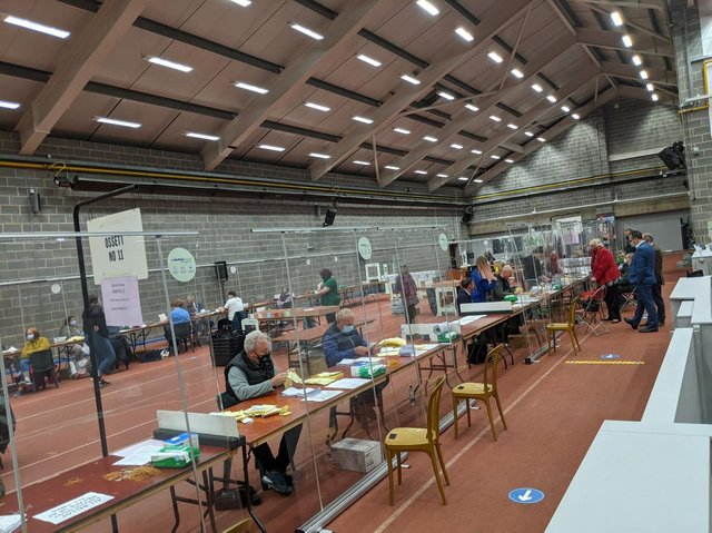 Socially distanced counting took place at Thornes Park throughout Friday.