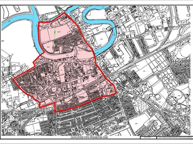 A map of Castleford town centre where the public space protection order is in force