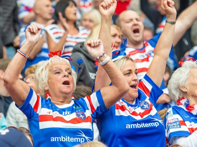Picture by Allan McKenzie/SWpix.com - 25/05/2019 - Rugby League - Dacia Magic Weekend 2019 - Wakefield Trinity v Catalans Dragons - Anfield, Liverpool, England - The brief, Wakefield fans, supporters.
