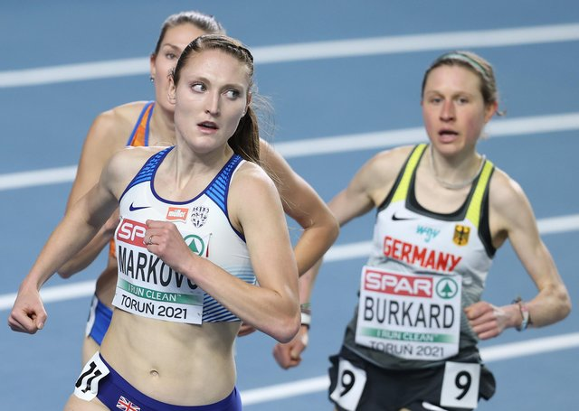 Amy-Eloise Markovc in action earlier this year when winning the women's 3,000m at the European Championships. Picture: Alexander Hassenstein/Getty Images