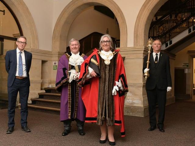 From left to right: council chief executive Andrew Balchin, deputy mayor David Jones, mayor Tracey Austin and mayor's attendant Rob Smitten.