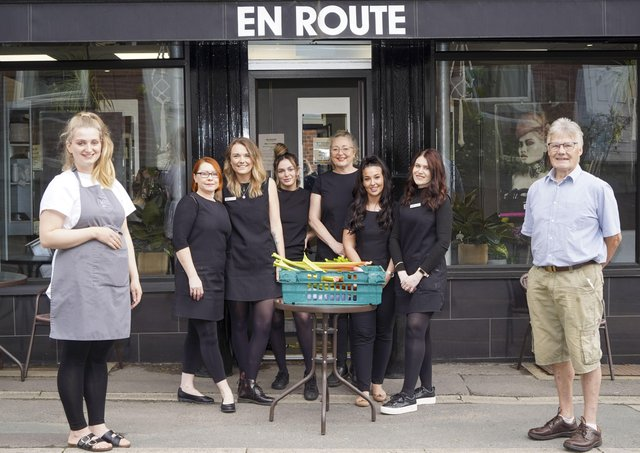 En Route hair salon in Walton is at the forefront of a sustainability project in the. village. Pictured Lauren Crowther from Whisk cafe, staff from En Route and allotment chairman Alan Berry. Picture Scott Merrylees