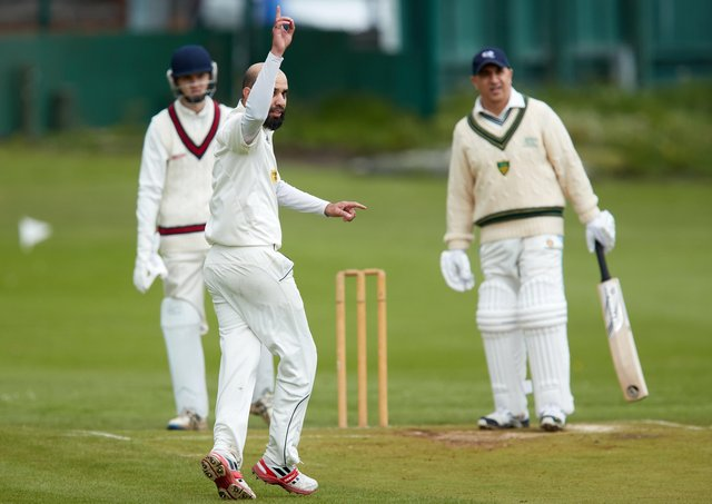 Wakefield St Michael's bowler Syed Shah Bukhari appeals for a wicket against Scholes. Picture: John Clifton