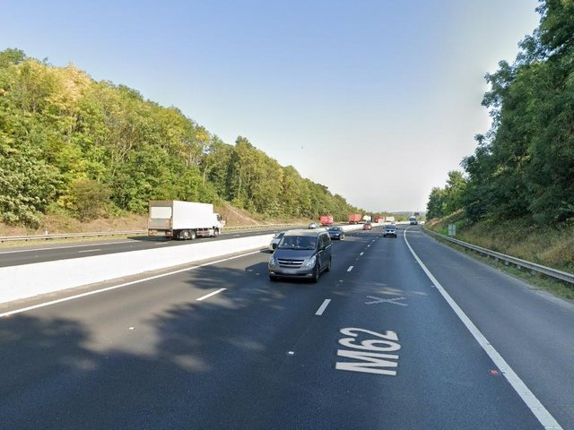The incident happened on the M62 on Monday.