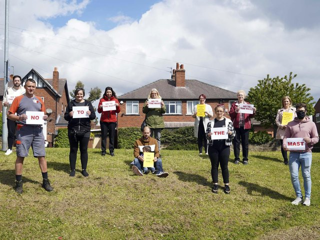 Protesters against a 5G mast in Lupset pictured earlier this month