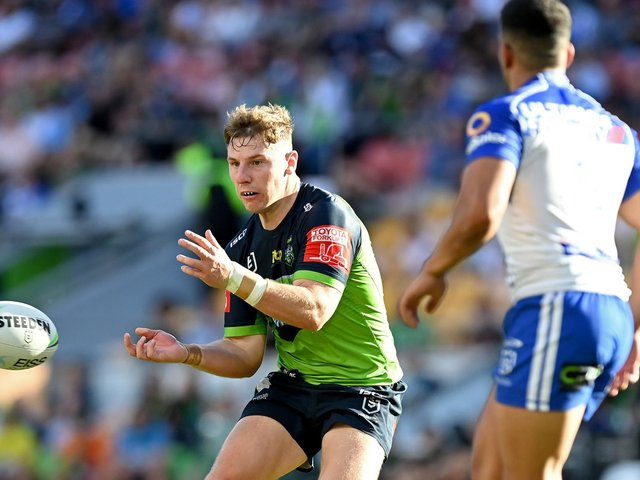 Canberra Raiders' George Williams in action against Canterbury Bulldogs earlier this month. (Photo by Bradley Kanaris/Getty Images)