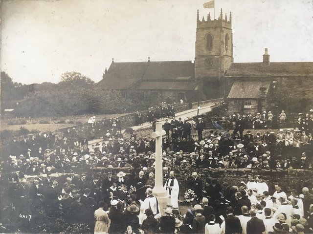 The unveiling of the memorial at Woolley, May 29, 1921.