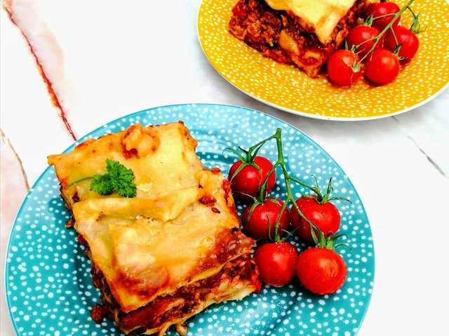 Vegan lasagne made with plant-based mince