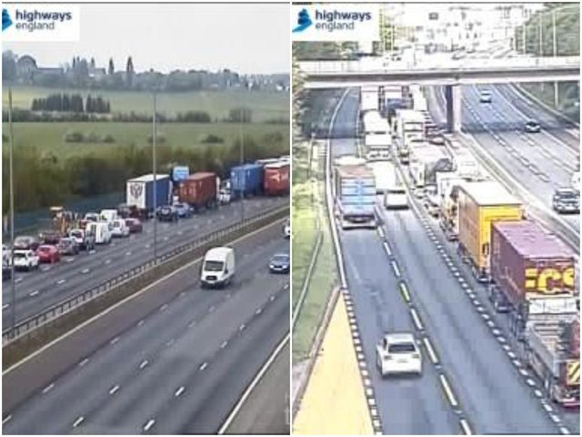 Drivers in Wakefield have been warned to expected long delays this morning, after a multi-vehicle collision on the M62. Photos: Highways England