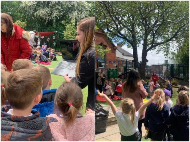 Children at a Lofthouse primary school have been showing their community spirit by sharing a picnic with residents at Ashby Lodge Residential Home.