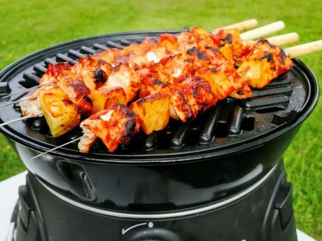 Karen's barbecued chicken and pineapple skewers