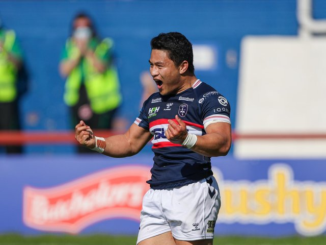 Picture by Alex Whitehead/SWpix.com - 30/05/2021 - Rugby League - Betfred Super League - Wakefield Trinity v Huddersfield Giants - Mobile Rocket Stadium, Wakefield, England - Wakefield's Mason Lino celebrates scoring a try.