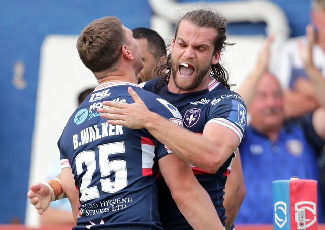 Wakefield Trinity winger Liam Kay celebrates scoring against former club Leigh Centurions. Picture: Richard Sellers/PA Wire.