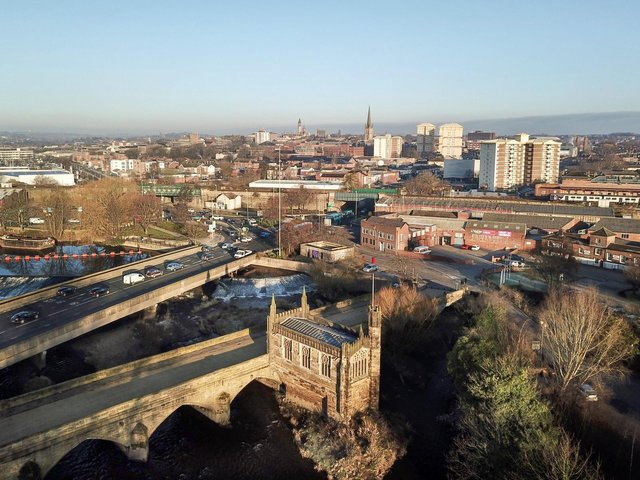 Aerial view of Wakefield from Chantry Bridge
