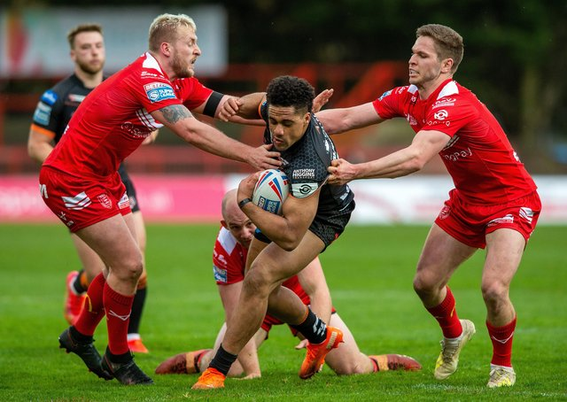 Former Westgate player Derrell Olpherts in action for Castleford Tigers in this year's Challenge Cup.