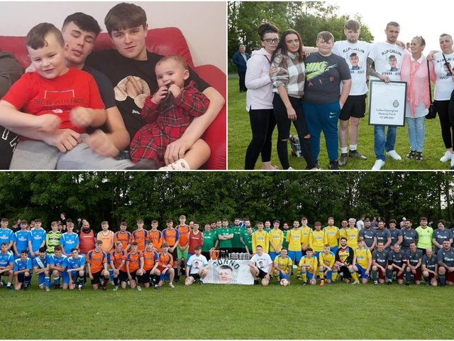Devastated friends and family turned out for a football tournament this week in memory of teenager Callum Cunningham.