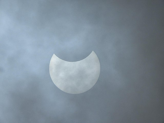 The partial solar eclipse over Ryhill, Wakefield, West Yorkshire this morning. Photo by Sue Billcliffe (Twitter: @SBillcliffe)