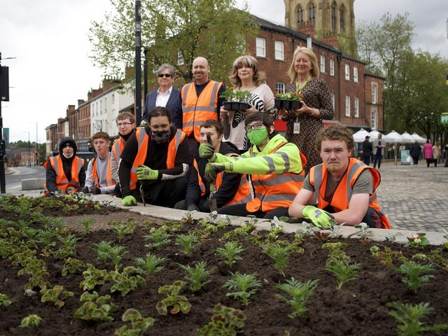 The team with newly planted plants