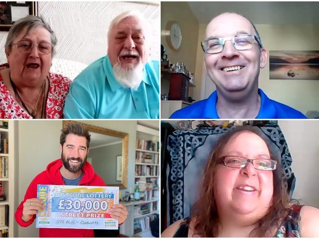 The lucky few: Jean and Ray Denman (top left), Chris Francis (top right), Luana Maki (bottom right) and Postcode Lottery's Matt Johnson (bottom left).