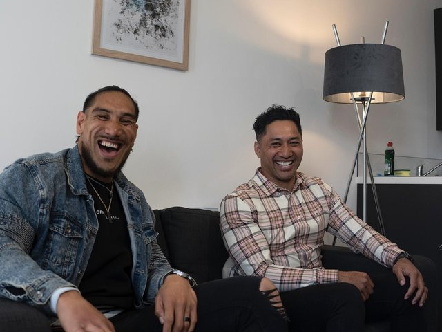 Jesse Sene-Lefao (left) has linked up with former team-mate and fellow Samoa international Quentin Laulu-Togagae to set up a successful property business.